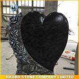 High Quality Germany Heart with Rose Carving Stone Tombstone