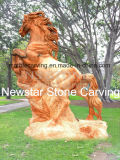 Wild Horse Marble Statue Carved in Pink Marble Nss-070