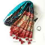 Summer Polyester Twill Printed Beach Lady Scarf (HMW04)
