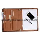 Zip Leather PU Tablet Holder Portfolio A4 Size Folder with Powerbank