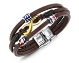2018 Handmade Multilayer New Punk Buckle Charm Brown Leather Bracelets Men Jewelry Accessories Wholesale