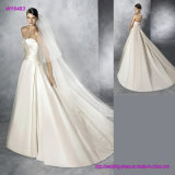 Strapless Pleats Sweetheart Neckline and Skirt Satin Wedding Gown
