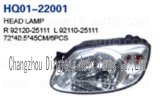 Head Lamp Assembly Fits Hyundai Accent 2003-2005.92120-25111/92110-25111