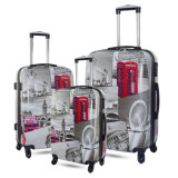 Hot New OEM Print Suitcase Trolley Case ABS/PC Printed Trolley Travel Spinner Luggage Bag