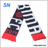 Factory Custom Jacquard Knitted Fan Scarf Football Scarf Soccer Scarf