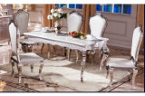 Modern Design Stainless Steel Dining Table Set with Glass