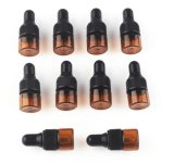 1ml / 2ml / 3ml / 5ml / 10ml Empty Amber Glass Dropper Bottles Pipette W/Cover for Essential Oil