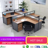Chinese Modern Wooden Furniture Aluminium Wall Modular Room Glass Office Workstation Partition with Cabinet Drawer (AP18207)