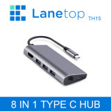 Lanetop Type-C Hub to HDMI/USB 3.1/Read Card/Gigabit Network Port with Pd Charging C Port Docking Station