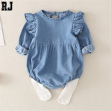 2020 Hot Selling Long Sleeve Newborn Girls Ruffles Romper Jumpsuit Denim Jeans Outfits Baby Clothing