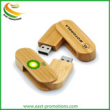 Custom Logo Printed Wood Swivel USB Flash Drive, Wooden USB Storage USB Stick