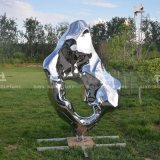 Mirror Polished Stainless Steel Sculpture of Stone