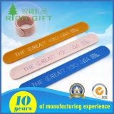 Promotional Access Control Customized Print Logo Slap Rubber Wristbands