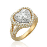Heart CZ 925 Silver Jewelry Rings with Gold Plated