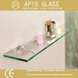8mm Rectangle Floating Tempered Glass Shelf with Round Polished Edges