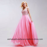 Sexy V-Neck Elegant Tulle with Beading A-Line Sleeveless Prom Dress