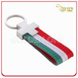 Promotion Colorful Woven Lanyard Metal Keychain