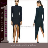 Black Turtleneck Long Sleeve Asymmetrical Evening Dress (TKYW1105)