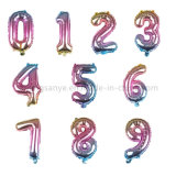 Dto0167 16inch Gradient Color Digital Aluminum Foil Balloon Wedding Birthday Decoration