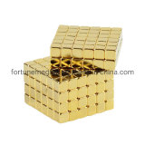 Premium and Cheap Neodymium Gold Coated Rubiks 5*5*5mm Cube Magneti Toy for DIY