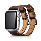 Latest Design Wholesale Price 38mm 42mm Double Straps Coffee Leather Watch Strap