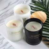 Hot Sell Glass Scented Candle Holders with Wooden Lid
