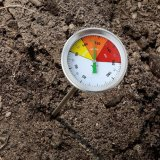 "Strong Structure Compost Soil Thermometer Temperature Gauge 20"" Stainless Steel Stem Fahrenheit Celsius Temperature Dial"