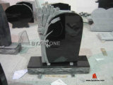 Black Granite Headstones Flower Carving, Granite Tombstones