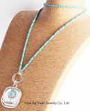 Fashion Large Tree Pendant Necklace Simulated with Turquoise Natural Stone Necklace for Women Anti Silver Turquoise Round Chain