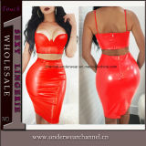 Sexy Evening Party Night PVC PU Faux Leather Lingerie Dress