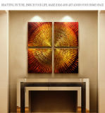 Abstract Art Paintings Metal Golden Gradient Color Abstract Artwork Modern Home Decor Wall Art for Living Room
