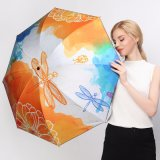 Dragonfly Oil Painting Pattern Folding Women Sunny Rainy Parasol Umbrella Creative Black Coating Fashion Windproof Quality Gift