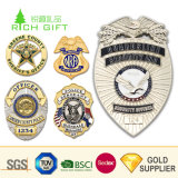 Wholesale High Quality Custom Cheap Metal Silver Gold Plated Security Bodyguard Police Army Badges with Your Own Logo and Letter Number