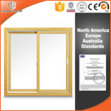 Double Glass Quality & Cheap Sliding Window for Apartment, North-America Style Aluminum Solid Wood Gliding Window