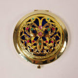 Cheap Customerized Rhinestone Mounted Antique Copper-Like Alloy Pocket Cosmetic Mirror