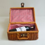Handmake Woven Nature Rattan Wicker Picnic Basket with Handle