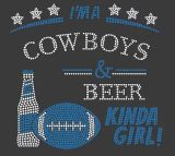 Custom Cowboys Football Rhinestone Transfer Iron on Hotfix Crystal Motif for T-Shirt