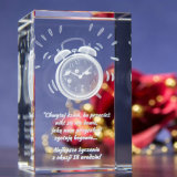 Crystal Cube Clock with 3D Laser Engraing for Crystal Decoration