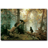 Beautiful Forest Bears Scene Oil Painting on Canvas New Design
