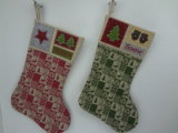 Wholesale Burlap Material Colourful Stocking Christmas Decoration