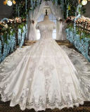 Satin Wedding Dress Cathedral Train Strapless Palace Wedding