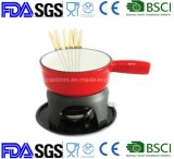 Nonstick Enamel Cast Iron Cheese Chocolate Fondue Withe 6 Forks and Handle