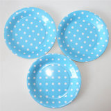 "9"" Party Paper Plate, Round Polka Blue DOT Paper Plates"