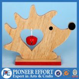 Wooden Christmas Hedgehog Design with Red Jingle Bell for Top Table Decor