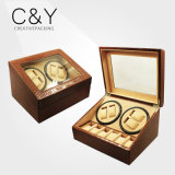 Brown PU Leather Glass Window Watch Winder