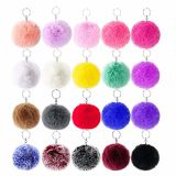 Factory Custom Fashion Colorful POM POM Fur Ball Keychain for Promotional Gift