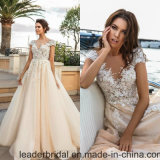 Cream Wedding Dress 2017 Champagne Lace Bridal Wedding Gowns W1624