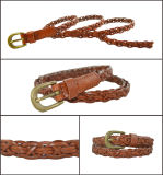 Brown Braided PU Belt for Women