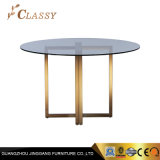 Round Glass Golden Base Restaurant Table for Hotel and Restaurant