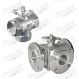Three Way Ball Valve Flanged/Threaded with Vertical and Direct Mounting Structure